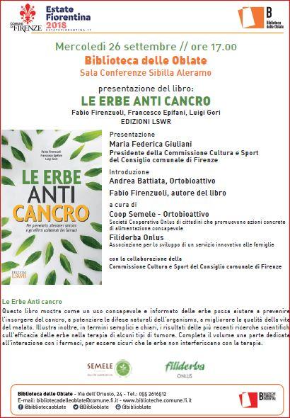 Le Erbe Anti Cancro  Prof. Firenzuoli – 26 Settembre ore 17 – Biblioteca Oblate Firenze